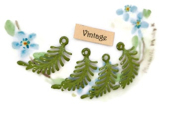 Enamel Metal Leaves Findings Connectors Embellishments Ferns Vintaj Brass Fastenables Fern Art Nouveau Loop Moss. #568E