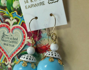 Vintage Shabby Chic Earrings 14 KT G.F Earwire Filigree Enamel Bead Caps Pastels Blue Cottage Chic
