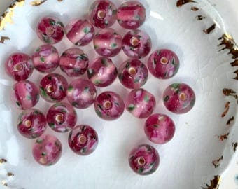 Flower beads,Vintage Glass Beads,Flowers,Rose beads,8mm,Pink beads,shabby chic beads,Rounds Smooth floral Lamp vintagerosefindings,#809E