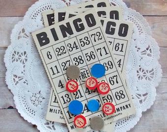 Vintage Bingo Cards with Game Pieces / 15 Pieces / Junk Journal / Bingo Cards