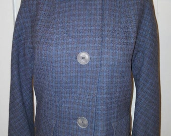 Vintage 1950s Brown Blue Suit Jacket