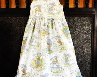 Size 2 - 3 vintage girl dress OOAK hollie hobbie ruffle halter