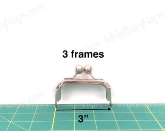 3 of 3x1.5 Nickel metal coin purse frames
