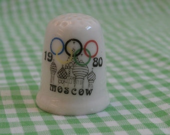 1980 Moscow Olympics Thimble, Vintage Olympic Collectible