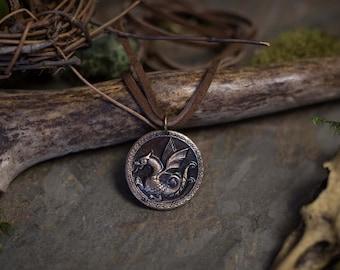 "Unisex Elder Dragon Amulet - Handmade Solid Bronze Pendant on 20"" Doubled Leather Cord"
