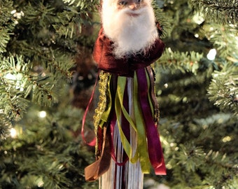 Old World SANTA CLAUS Tree ORNAMENT Christmas Tassel Burgundy Red Green Gold Fabric Trim St Nick Katherines Collection Wayne Kleski Tassle