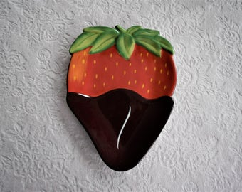 CHOCOLATE CANDY PLATE Covered Strawbery Candies Fake Faux Food Design Dessert Display Figural Fruit Shape Cookie Clay Art Red Strawberries