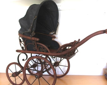 Antique Doll Stroller - Victorian Rattan Baby Carriage - Adjustable Foot Rest and Hood