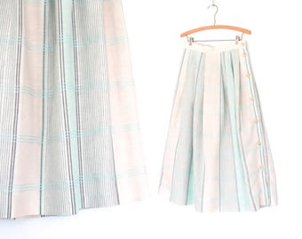 Vintage Linen Skirt * 80s Skirt * Plaid Skirt * 1980s Skirt * Large