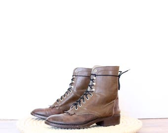 rustic leather lace up boots / 6
