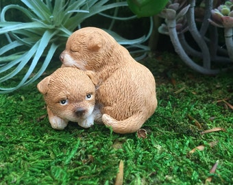 Puppies Figurine, Mini Puppy Dogs Cuddling, Style 4570 Fairy Garden Accessory, Miniature Gardening, Home & Garden Decor, Shelf Sitter