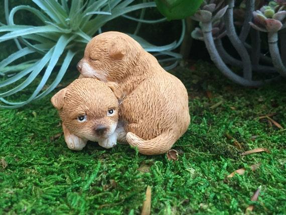 Puppies Figurine, Mini Puppy Dogs Cuddling, Style 4570 Fairy Garden Accessory, Miniature Gardening, Home & Garden Decor, Shelf Sitter