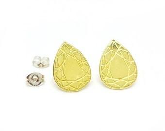 Faceted Teardrop Brass Post Earrings