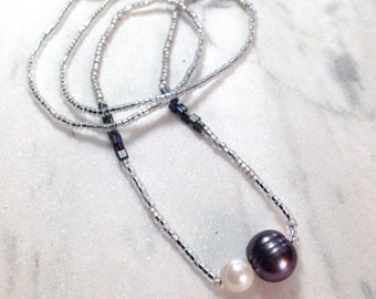 minimalist pearls - beaded freshwater pearl necklace