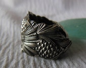 Pine Cone  Antique Sterling Silver Spoon Ring  Size 6.5