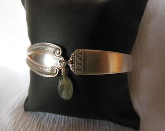 Antique Spoon  Bracelet   8 inch With Aquamarine Gemstone