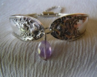 Antique Spoon Bracelet  Thistle with Ametrine     7.5 inch