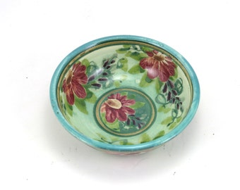Blue Floral Bowl - Handmade Shallow Pottery Dish for Jewelry, Candy and Serving - Classic Design - Red Flowers