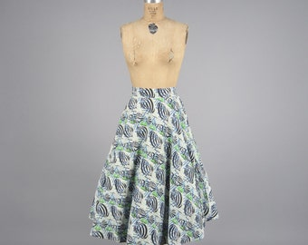 1950s shell novelty print skirt • vintage 50s skirt • cotton full skirt