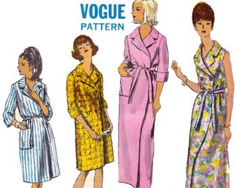 60s Womens Robe Pattern Vogue 6734 Vintage Sewing Pattern Bust 36 Inches SMALL PIECES MISSING