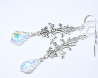 Solid Sterling Silver Swarovski Earrings, Long Clear Crystal Earrings, Aurora Borealis Finish, Swarovski Baroque Crystal, Bridal Jewelry