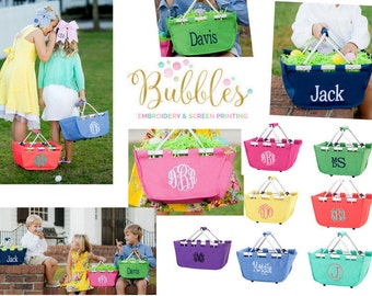 Monogrammed Easter Baskets, Personalized Easter Baskets, Easter Totes, Same day ship, Girls and Boys Easter totes, personalized, marke tote