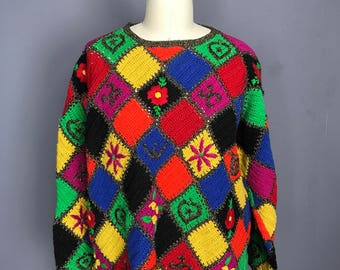 Rainbow Patchwork Sweater