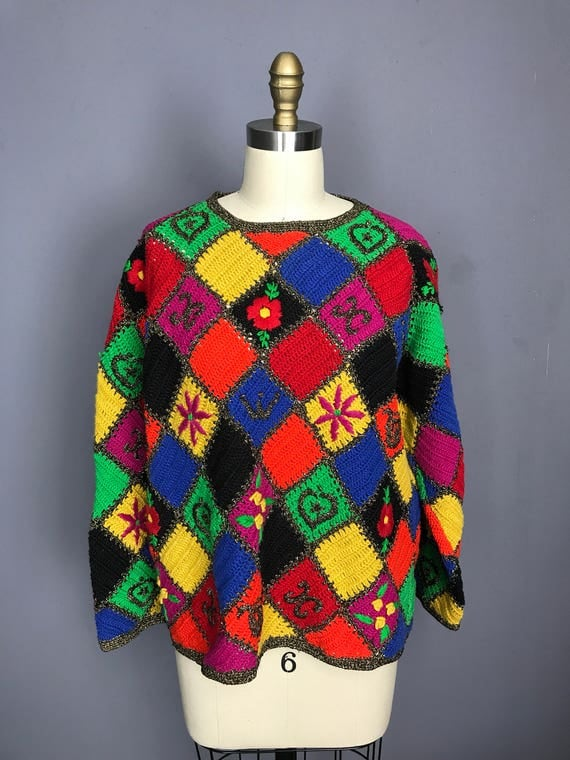 Rainbow Patchwork Sweater