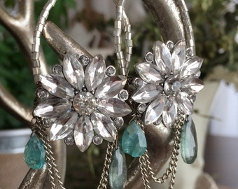 sparkling poinsettias - rhinestone earrings flowers chain gemstones glass bead christmas holiday jewelry the french circus