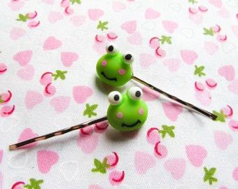 Kawaii Frog Hair Pins/ Bobby Pins, Cute Hair Pins/ Bobby Pins, Frogs, Cute, Kawaii, Teen/ Girls Gift