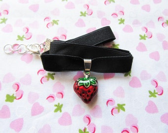 Strawberry Velvet Choker, Black Velvet Choker, Charm Choker, Strawberry Choker, Cute Choker, Kawaii Choker, Choker Necklace