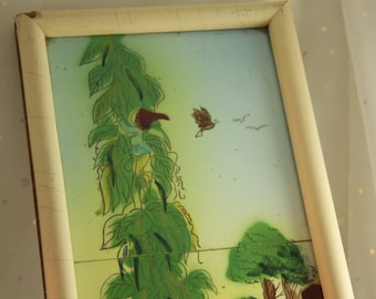 SALE Storybook Tiles Jack and the Beanstalk Anderson Fairy Tale Vintage framed tile Vinatge Hand Painted Childrens room art