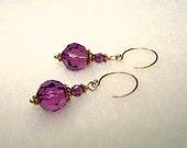 Dark Purple Earrings Crystal Drop Earings February Birthstone Jewelry Canada Purple and Gold Pierced Short Dangle Purple Gifts for Women