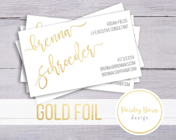 Featured listing image: BUSINESS CARDS Gold Foil | skincare, business, marketing, printed, skincare tool, personalized, direct sales, Rodan, Fields