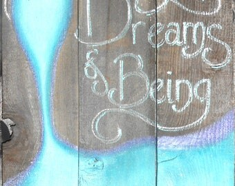 Mermaid on Reclaimed Barnwood, Beach, Glittered, Hand Painted Sign, barn wood painting