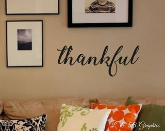 Thankful Vinyl Wall Decal Dining Room  Kitchen  Family Room Vinyl Wall