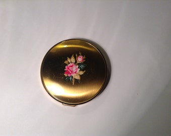 Vintage Compact Mirror, Rose Detail