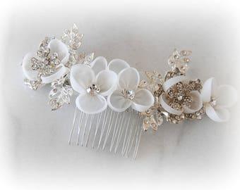 Ivory Wedding Comb, Swarovski Crystal Bridal Comb, Organza Hair Flowers, Headpiece - VELLA
