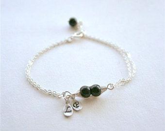 Pea Pod Bracelet, Two Peas in a Pod Bracelet, Black peas, Best Friend, Mothers Bracelet, Bridesmaids, Initial Bracelet, Sterling Silver