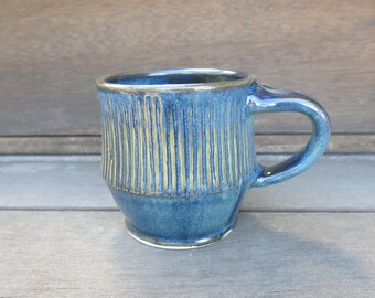 Handmade Ceramic Coffee Mug Tea Cup, Rustic Variegated Blue, 12 oz Porcelain Gift Idea for Him, Artisan Pottery by Licia Lucas Pfadt