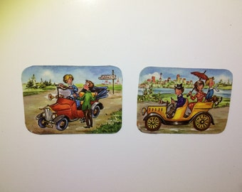 2x Magnets with upcycled scrap illustrations, couple on Sunday drive.