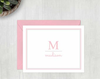 Custom Note Card Set • Dotty Initial {FOLDED} • 10 Note Cards with Envelopes • Personalized Stationery • Personalized Stationary • Thank You