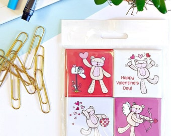 Valentine's Day Bears Magnets - Set of Four 2-Inch Magnets