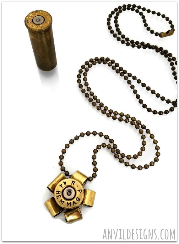 Bullet Necklace Brass Flower Reversible Ammo Jewelry 44 Rem Mag 9 mm Luger Handgun Pistol Shoot Like a Girl Gun Strong Feminine Charm Gift