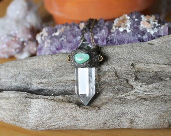 Turquoise & Quartz Necklace - Clear Crystal Necklace - Wiccan Jewelry - Pyrite w/ Turquoise Jewelry - Boho Bohemian Jewelry - Pagan Necklace