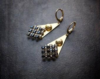 Rhinestone Geometric Earrings Raw Brass Triangle Vintage Rhinestone Black and White Edgy Boho Tribal 80's On Trend Checker