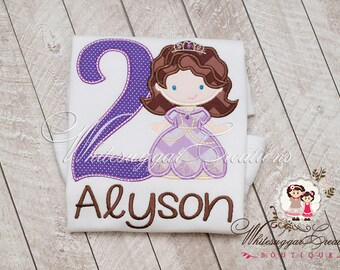 Girl Princess Birthday Shirt - Custom Sofia Princess Shirt - Lavender and Purple Princess Shirt