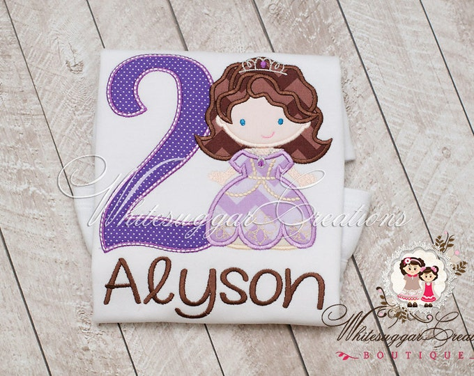 Sophie Princess with Lavender Dress Birthday Shirt - PREMIUM Personalized Princess Shirt