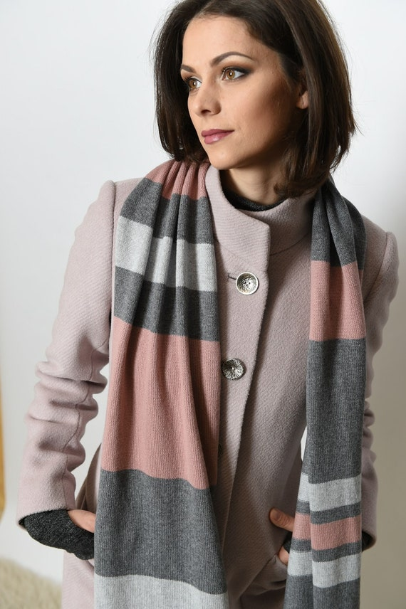 Grey cashmere / cashmere scarves / cashmere wrap / valentines day gift / handmade cashmere / knit scarf / winter scarf / cashmere knit