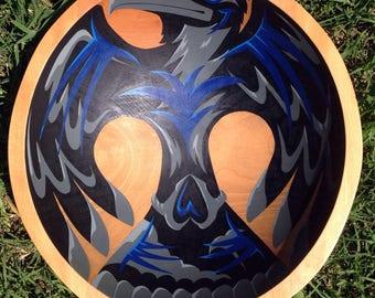 """Raven & Skull hand painted 12"""" oak bowl"""
